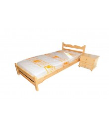 Σουηδικό μονό κρεβάτι και κομοδίνο.